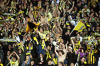 Phoenix fans celebrate victory at the final whistle during the A-League football match between Wellington Phoenix and Perth Glory at Westpac Stadium, Wellington, New Zealand on Sunday, 16 August 2009. Photo: Dave Lintott / lintottphoto.co.nz
