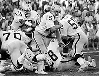Oakland Raiders quarterback Mike Rae #15, help from his blockers. (1977 photo/Ron Riesterer)