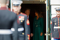 United States President Donald Trump and First Lady Melania Trump chats before welcoming Czech Republic Prime Minister Andrej Babiš and Mrs. Monika Babišová on the South Portico at White House in Washington, District of Columbia on Thursday, March 7, 2019. Credit: Ting Shen / CNP/AdMedia