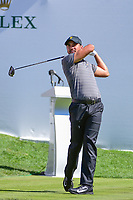 Jason Day (AUS) watches his tee shot on 1 during round 4 Singles of the 2017 President's Cup, Liberty National Golf Club, Jersey City, New Jersey, USA. 10/1/2017. <br /> Picture: Golffile | Ken Murray<br /> <br /> All photo usage must carry mandatory copyright credit (&copy; Golffile | Ken Murray)
