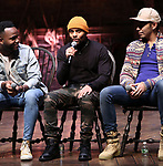 "Deon'te Goodman, Terrance Spencer, Anthony Lee Medina during the eduHAM Q & A before The Rockefeller Foundation and The Gilder Lehrman Institute of American History sponsored High School student #EduHam matinee performance of ""Hamilton"" at the Richard Rodgers Theatre on November 13, 2019 in New York City."
