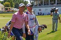 Justin Thomas (USA) smiles as he departs the green on 18 during round 1 of the WGC FedEx St. Jude Invitational, TPC Southwind, Memphis, Tennessee, USA. 7/25/2019.<br /> Picture Ken Murray / Golffile.ie<br /> <br /> All photo usage must carry mandatory copyright credit (© Golffile | Ken Murray)