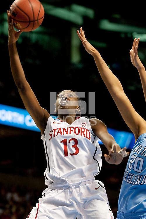 SPOKANE, WA - MARCH 26, 2011: Chiney Ogwumike of Stanford Women's Basketball vs University of North Carolina, NCAA West Regionals on March 26, 2011.