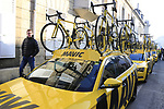 Mavic neutral service cars lined up before the start of the 115th edition of the Paris-Roubaix 2017 race running 257km Compiegne to Roubaix, France. 9th April 2017.<br /> Picture: Eoin Clarke | Cyclefile<br /> <br /> <br /> All photos usage must carry mandatory copyright credit (&copy; Cyclefile | Eoin Clarke)