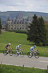 The breakaway group Cyril Gautier (FRA) Bbox, Hubert Dupont (FRA) AG2R La Mondiale and Marcel Wyss (GER) Cervelo Test Team pass a chateau near La Gleize during the 95th running of Liege-Bastogne-Liege cycle race, running 261km from Liege to Ans, Belgium. 26th April 2009 (Photo by Eoin Clarke/NEWSFILE)