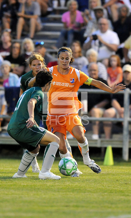 Keeley Dowling (orange) , Sara Walsh...Saint Louis Athletica defeated Sky Blue F.C 1-0, at Anheuser-Busch Soccer Park, Fenton, MO.