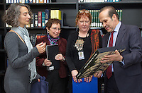 Book Exchanges between Turkey and Yale University. During Turkish Ambassador to the United States, His Excellency Namik Tan visit to Yale University. Sterling Memorial Library, presentation of Turkish Books.