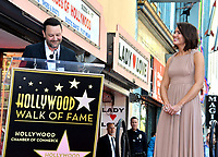 LOS ANGELES, CA. March 25, 2019: Dan Fogelman & Mandy Moore at the Hollywood Walk of Fame Star Ceremony honoring actress & singer Mandy Moore.<br /> Pictures: Paul Smith/Featureflash