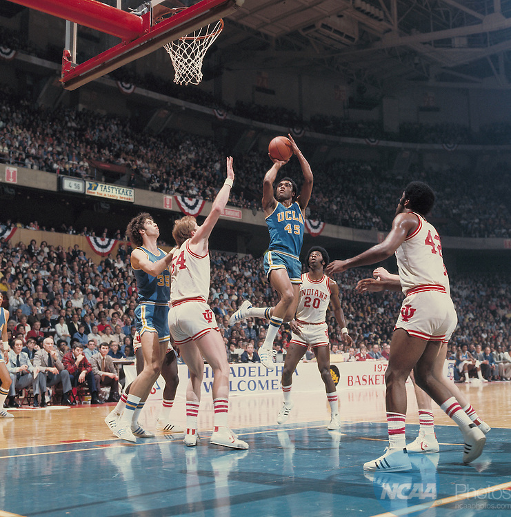27 MAR 1976:  UCLA guard Andre McCarter (45), center Ralph Drollinger (35) and Indiana center Kent Benson (54), guard/forward Bobby Wilkerson (20) and forward Scott May (42) during the NCAA Men's National Basketball Final Four semifinal game held in Philadelphia, PA, at the Spectrum. Indiana defeated UCLA 65-51 to meet Michigan for the championship. Photo by Rich Clarkson/NCAA PhotosSI CD 0024-02