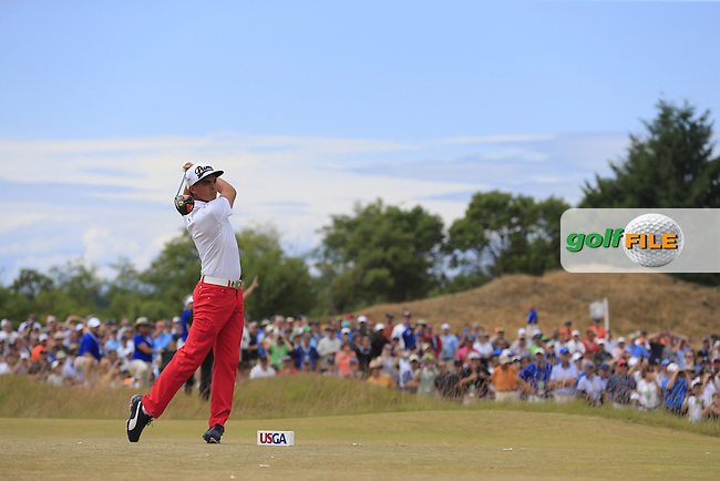 Rickie FOWLER (USA) tees off the 4th tee during Thursday's Round 1 of the 2015 U.S. Open 115th National Championship held at Chambers Bay, Seattle, Washington, USA. 6/18/2015.<br /> Picture: Golffile | Eoin Clarke<br /> <br /> <br /> <br /> <br /> All photo usage must carry mandatory copyright credit (&copy; Golffile | Eoin Clarke)