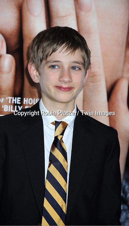"actor Thomas Horn attends the New York Premiere of "" Extremely Loud & Incredibly Close"" on December 15, 2011 at The Ziegfeld Theatre in New York City. The movie stars Tom Hanks, Sandra Bullock, Thomas Horn, Max von Sydow, Viola Davis and Jeffrey Wright."