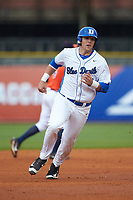 Jack Labosky (6) of the Duke Blue Devils hustles towards third base against the Virginia Cavaliers in Game Seven of the 2017 ACC Baseball Championship at Louisville Slugger Field on May 25, 2017 in Louisville, Kentucky. The Blue Devils defeated the Cavaliers 4-3. (Brian Westerholt/Four Seam Images)