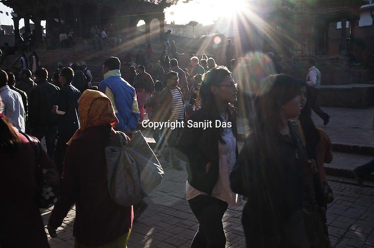 Tourists and locals seen in Patan Darbar in Patan in capital Kathmandu, Nepal