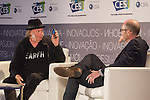 "NEIL YOUNG, NATHAN BRACKETT. Presentation ""Neil Young on Why High-Resolution Music Matters"" at the 2015 Consumer Electronics Show, Las Vegas Convention Center. Las Vegas, NV, USA. January 7, 2015. ©CelphImage."