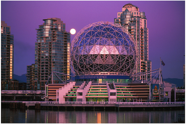 Science World, Citygate towers, skytrain, full moon at twilight, False Creek, Vancouver, BC.