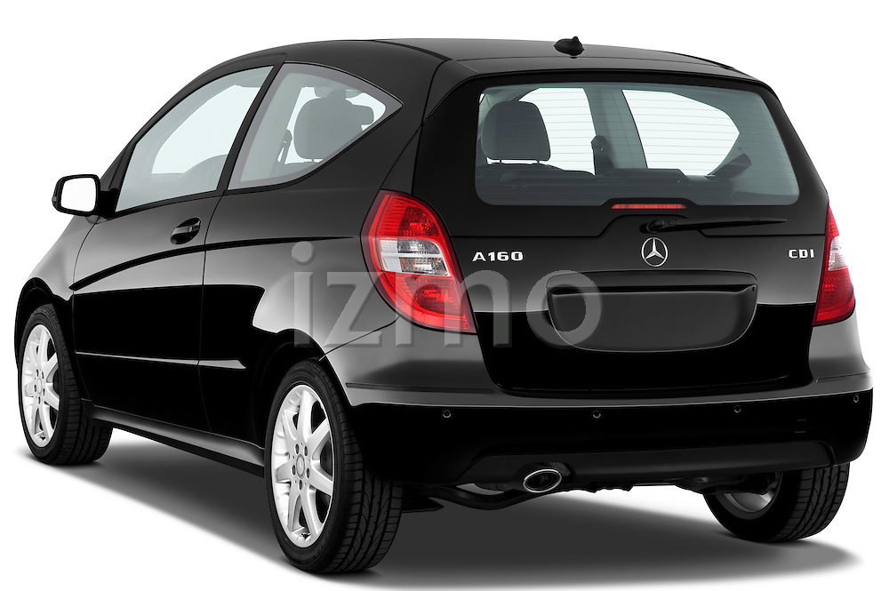 Rear three quarter view of a 2009 Mercedes A Class Blue Efficiency 3 Door Mini MPV Stock Photo