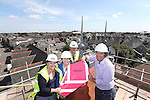 R &amp; M Williams<br /> Topping out at Four Elms Church in Cardiff.<br /> L-R: Beth Gamble, No Fit State Circus, Jenny Clemence, Dave Haskell and Kevin Sutton, Architect.<br /> <br /> 20.08.13<br /> <br /> &copy;Steve Pope-Fotowales