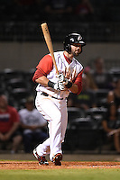 Arkansas Travelers third baseman Kaleb Cowart (21) at bat during a game against the San Antonio Missions on May 24, 2014 at Dickey-Stephens Park in Little Rock, Arkansas.  Arkansas defeated San Antonio 4-2.  (Mike Janes/Four Seam Images)