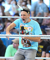 """NEW YORK, NY - August 21 : Jon Stewart was a special guest at WWE SummerSlam 2016 at the Barclays Center and joined """"New Day"""" members Kofi Kingston, Easy E and Xavier Woods in the ring on August 21 , 2016 at the Barclays Center in Brooklyn, New York.  Photo Credit: John Palmer/ MediaPunch"""