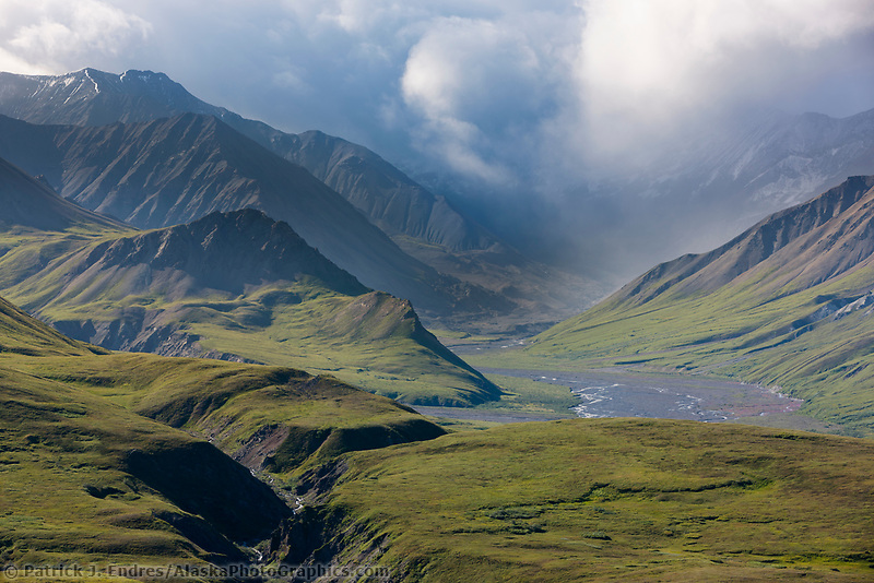 Clouds over the Alaska range mountains and Gorge Creek and Sunrise Creek near Eielson Visitor's Center, Denali National Park, interior, Alaska.
