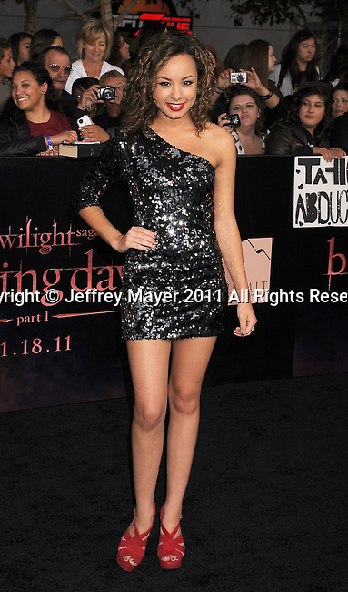 "LOS ANGELES, CA - NOVEMBER 14: Savannah Jayde arrives at the Los Angeles premiere of ""The Twilight Saga: Breaking Dawn Part 1"" held at Nokia Theatre L.A. Live on November 14, 2011 in Los Angeles, California."