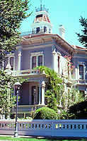 """Modesto CA:  Oramil McHenry House, c. 1875. 906 15th St.--home of Modesto's """"most distinguished citizen""""."""