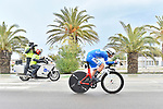 Race leader Michal Kwiatkowski (POL) Team Sky in action during Stage 7 of the 53rd edition of the Tirreno-Adriatico 2018 a 10km individual time trial around San Benedetto del Tronto, Italy. 13th March 2018.<br /> Picture: LaPresse/Fabio Ferrari   Cyclefile<br /> <br /> <br /> All photos usage must carry mandatory copyright credit (&copy; Cyclefile   LaPresse/Fabio Ferrari)