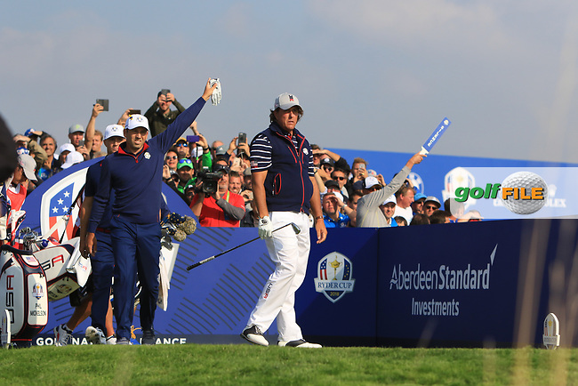 Phil Mickelson (Team USA) on the 9th tee during the Friday Foursomes at the Ryder Cup, Le Golf National, Ile-de-France, France. 28/09/2018.<br /> Picture Thos Caffrey / Golffile.ie<br /> <br /> All photo usage must carry mandatory copyright credit (© Golffile | Thos Caffrey)