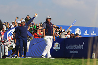 Phil Mickelson (Team USA) on the 9th tee during the Friday Foursomes at the Ryder Cup, Le Golf National, Ile-de-France, France. 28/09/2018.<br /> Picture Thos Caffrey / Golffile.ie<br /> <br /> All photo usage must carry mandatory copyright credit (&copy; Golffile | Thos Caffrey)