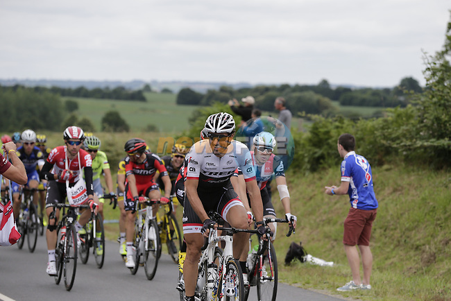 The peloton led by Fabian Cancellara (SUI) Trek-Segafredo pass through the feed zone at La Hargriniere during Stage 3 of the 2016 Tour de France, running 223.5km from Granville to Angers, France . 4th July 2016.<br /> Picture: Eoin Clarke | Newsfile<br /> <br /> <br /> All photos usage must carry mandatory copyright credit (&copy; Newsfile | Eoin Clarke)