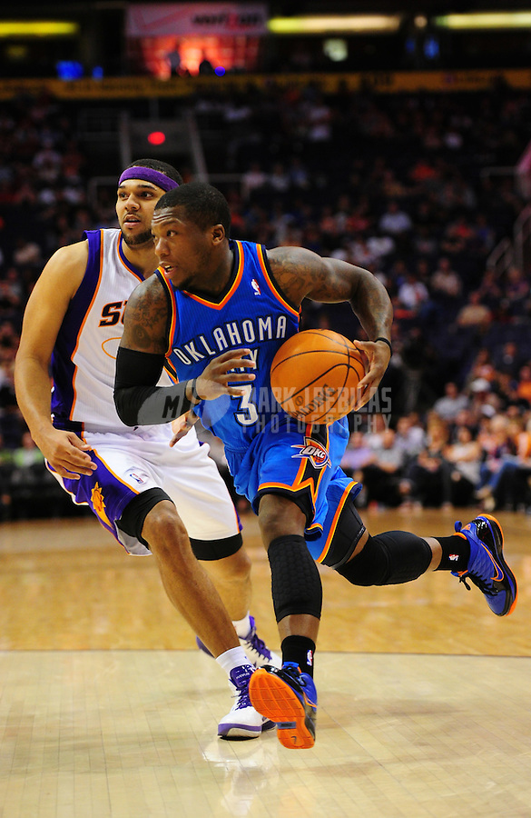 Mar. 30, 2011; Phoenix, AZ, USA; Oklahoma City Thunder guard (3) Nate Robinson against the Phoenix Suns at the US Airways Center. Mandatory Credit: Mark J. Rebilas-