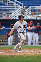 Tri-City ValleyCats left fielder J.J. Matijevic (4) hits into a fielder's choice and drives in a run during a game against the Batavia Muckdogs on July 16, 2017 at Dwyer Stadium in Batavia, New York.  Tri-City defeated Batavia 13-8.  (Mike Janes/Four Seam Images)