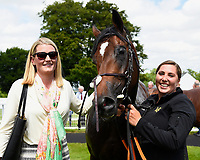 Connections with Initiative in the winners enclosure after winning The Bathwick Tyres Novice Auction Stakes(plus 10, Div 1), during Afternoon Racing at Salisbury Racecourse on 13th June 2017