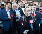 © Joel Goodman - 07973 332324 . 05/05/2017. Manchester, UK.  REBECCA LONG-BAILEY speaks in Manchester following Andy Burnham's victory in the Manchester Metro mayoralty campaign , for a Momentum Rally on the steps of the Manchester Convention Centre . Andy Burnham did not attend . Photo credit : Joel Goodman