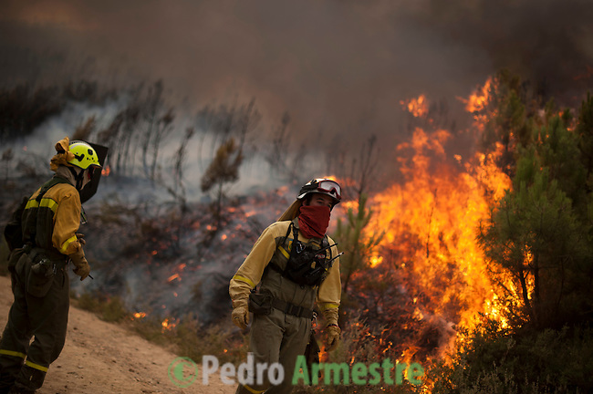 Members of the Brif, reinforcement brigade wildfires, work to put out a wildfire in Tabuyo del Monte near Leon on August 20, 2012. Numerous wildfires have broken out across Spain in the sweltering heat in recent weeks, an extra headache for authorities struggling to get the country out of its financial crisis and recession. © Pedro ARMESTRE