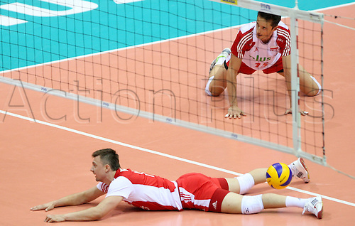 09.07.2011 Action from the FIVB World League Finals from the Ergo Arena in Gdansk, Poland. Picture shows LUKASZ ZYGADLO and KRZYSZTOF IGNACZAK (POL).