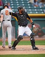 Tony Sanchez (27) of the Salt Lake Bees on defense against the Fresno Grizzlies in Pacific Coast League action at Smith's Ballpark on April 17, 2017 in Salt Lake City, Utah. The Bees defeated the Grizzlies 6-2. (Stephen Smith/Four Seam Images)