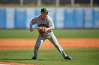 Dartmouth Big Green third baseman Steffen Torgersen (29) throws to first base during a game against the Bradley Braves on March 21, 2019 at Chain of Lakes Stadium in Winter Haven, Florida.  Bradley defeated Dartmouth 6-3.  (Mike Janes/Four Seam Images)