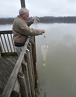 NWA Media/Michael Woods --12/19/2014-- w @NWAMICHAELW...Russell Rhodes, a retired scientist, helps collect algae samples at Lake Fayetteville on Friday afternoon.   Rhodes who specializes in algae, helps monitor the algae levels in the lakes around Northwest Arkansas.