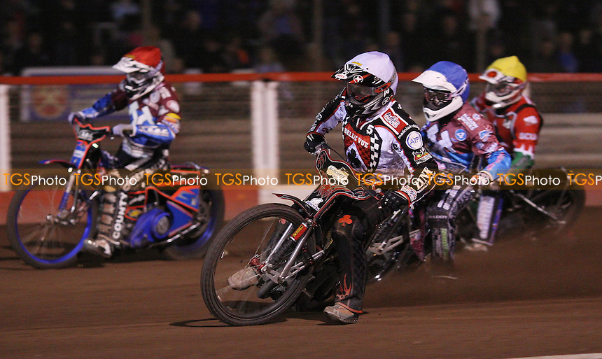 Heat 9: Adam Shields (white), Robert Mear (blue), Hugh Skidmore (yellow) and Davey Watt (red) - Lakeside Hammers vs Belle Vue Aces, Elite League at the Arena Essex Raceway, Pufleet - 30/03/12 - MANDATORY CREDIT: Rob Newell/TGSPHOTO - Self billing applies where appropriate - 0845 094 6026 - contact@tgsphoto.co.uk - NO UNPAID USE..