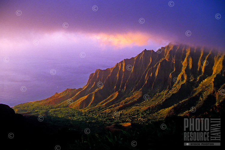 The pristine ethereal beauty of Kalalau Valley on the island of Kauai at sunset.