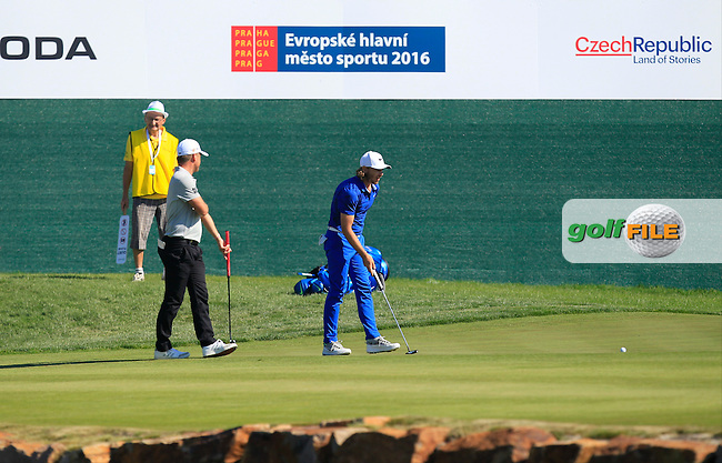 Tommy Fleetwood (ENG) on the 18th green during Round 2 of the D&amp;D Real Czech Masters 2016 at the Albatross Golf Club, Prague on Friday 19th August 2016.<br /> Picture:  Thos Caffrey / www.golffile.ie<br /> <br /> All photos usage must carry mandatory copyright credit   (&copy; Golffile | Thos Caffrey)
