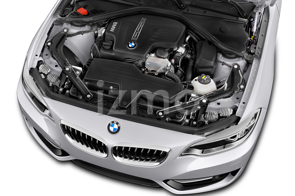 Car stock 2015 BMW 2 Series  Sport 2 Door Convertible engine high angle detail view