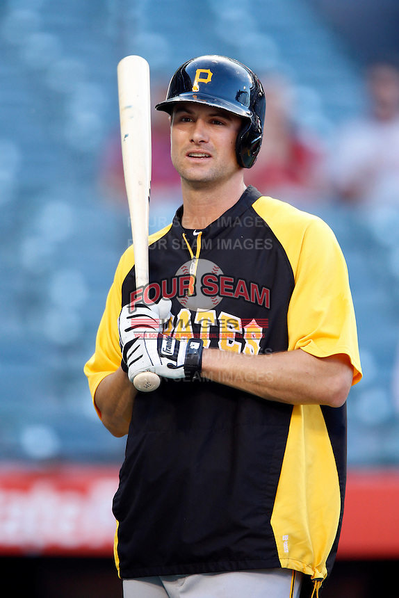 Jordy Mercer #10 of the Pittsburgh Pirates before a game against the Los Angeles Angels at Angel Stadium on June 21, 2013 in Anaheim, California. (Larry Goren/Four Seam Images)