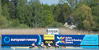 Brandenburg. GERMANY. GBR W4X moving past the finishing line at the<br /> 2016 European Rowing Championships at the Regattastrecke Beetzsee<br /> <br /> Thursday  05/05/2016<br /> <br /> [Mandatory Credit; Peter SPURRIER/Intersport-images]