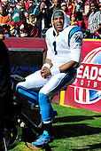 Carolina Panthers quarterback Cam Newton (1) rides the exercise bike on the sidelines during the first quarter of the game against the Washington Redskins at FedEx Field in Landover, Maryland on Sunday, November 4, 2012..Credit: Ron Sachs / CNP