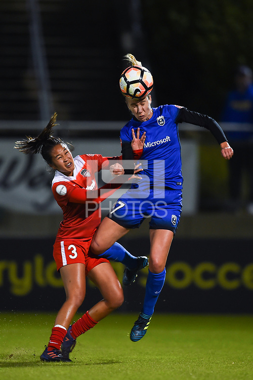 Boyds, MD - Saturday September 30, 2017: Caprice Dydasco, Beverly Yanez during a regular season National Women's Soccer League (NWSL) match between the Washington Spirit and the Seattle Reign FC at Maureen Hendricks Field, Maryland SoccerPlex.