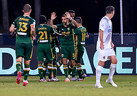 13th July 2020, Orlando, Florida, USA;  Portland Timbers Jeremy Ebobisse scores a goal during the MLS Is Back Tournament between the LA Galaxy versus Portland Timbers on July 13, 2020 at the ESPN Wide World of Sports, Orlando FL.