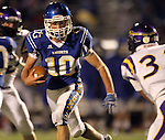 SIOUX FALLS, SD - OCTOBER 11:  Luke Fritsch #10 from O'Gorman looks for room against the Watertown defense in the second quarter of their game Friday night at O'Gorman.  (Photo by Dave Eggen/Inertia)