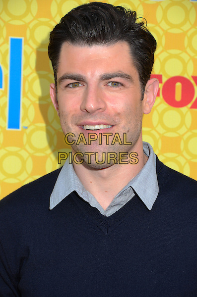 Max Greenfield.'New Girl' cast at screening and Q&A at Leonard H. Goldenson Theatre, North Hollywood, California, USA..7th May 2012.headshot portrait blue sweater jumper top  CAP/ADM/BT.©Birdie Thompson/AdMedia/Capital Pictures.